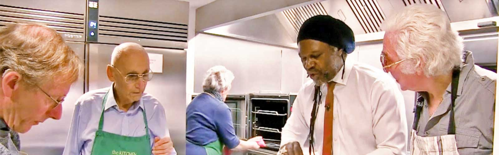 Chef and businessman Levi Roots, hosting an Age Uk cookery class