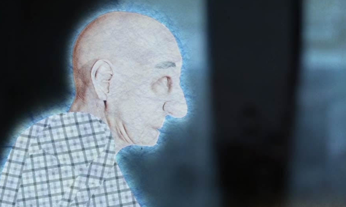 An illustration of an older man from the animated video from the Egomunk song Islands