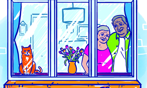 An illustration of two older people looking out of a window